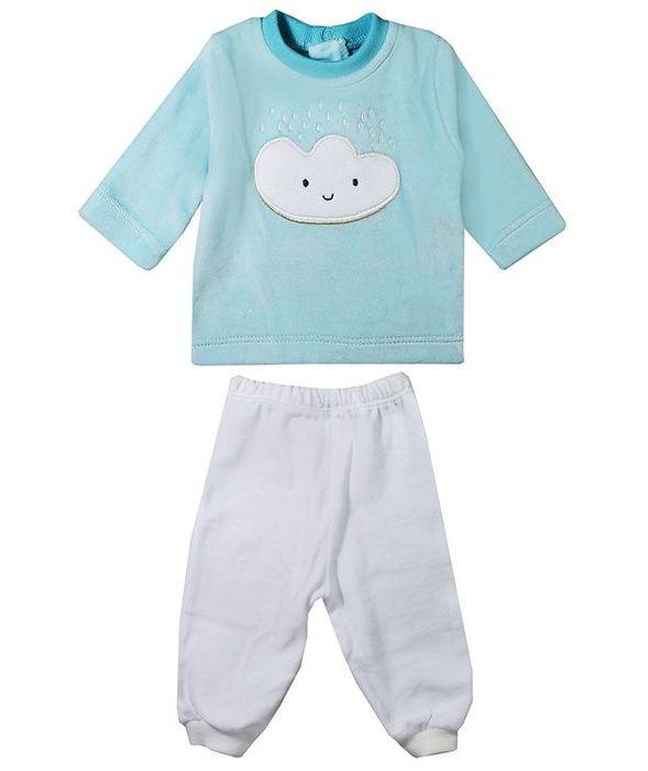 ست بلوز و شلوار نوزادی روح مدل BlueCloud کد 01