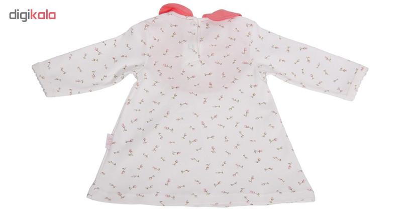 پیراهن آستین بلند نوزادی نیلی طرح قاب عکس