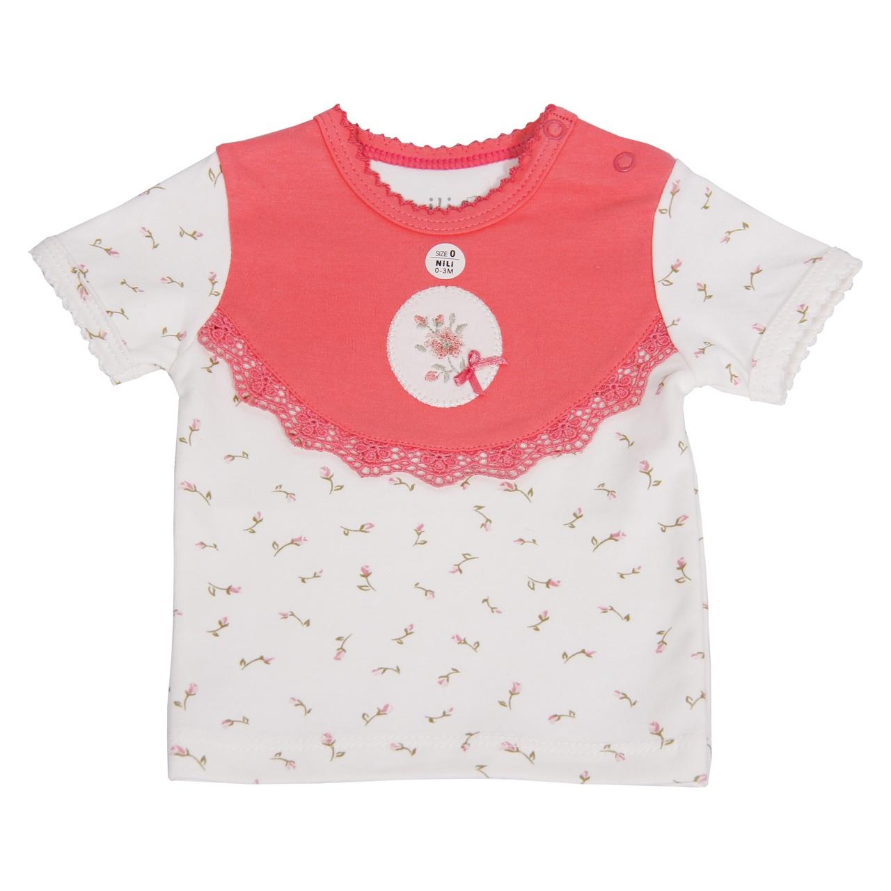تیشرت آستین کوتاه نوزادی نیلی طرح قاب عکس