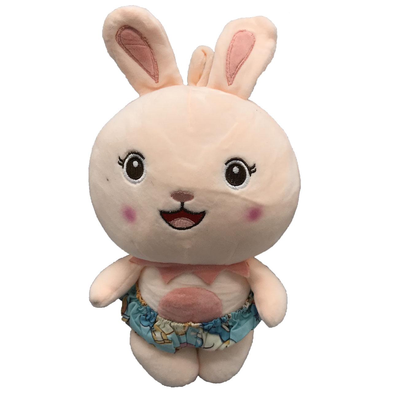 عروسک طرح خرگوش لباس شرتی ارتفاع 30 سانتی متر