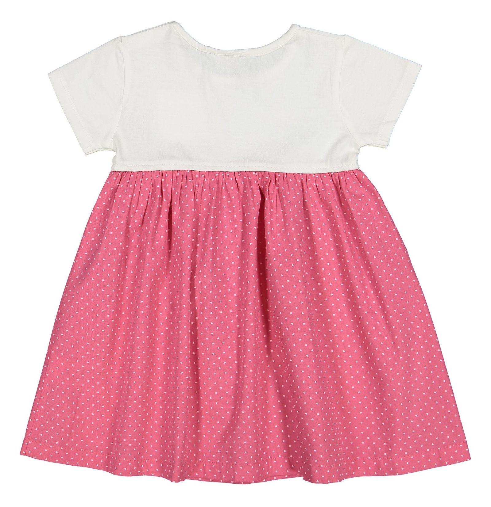 پیراهن نخی نوزادی دخترانه - بلوزو - سفيد و گلبهي - 2