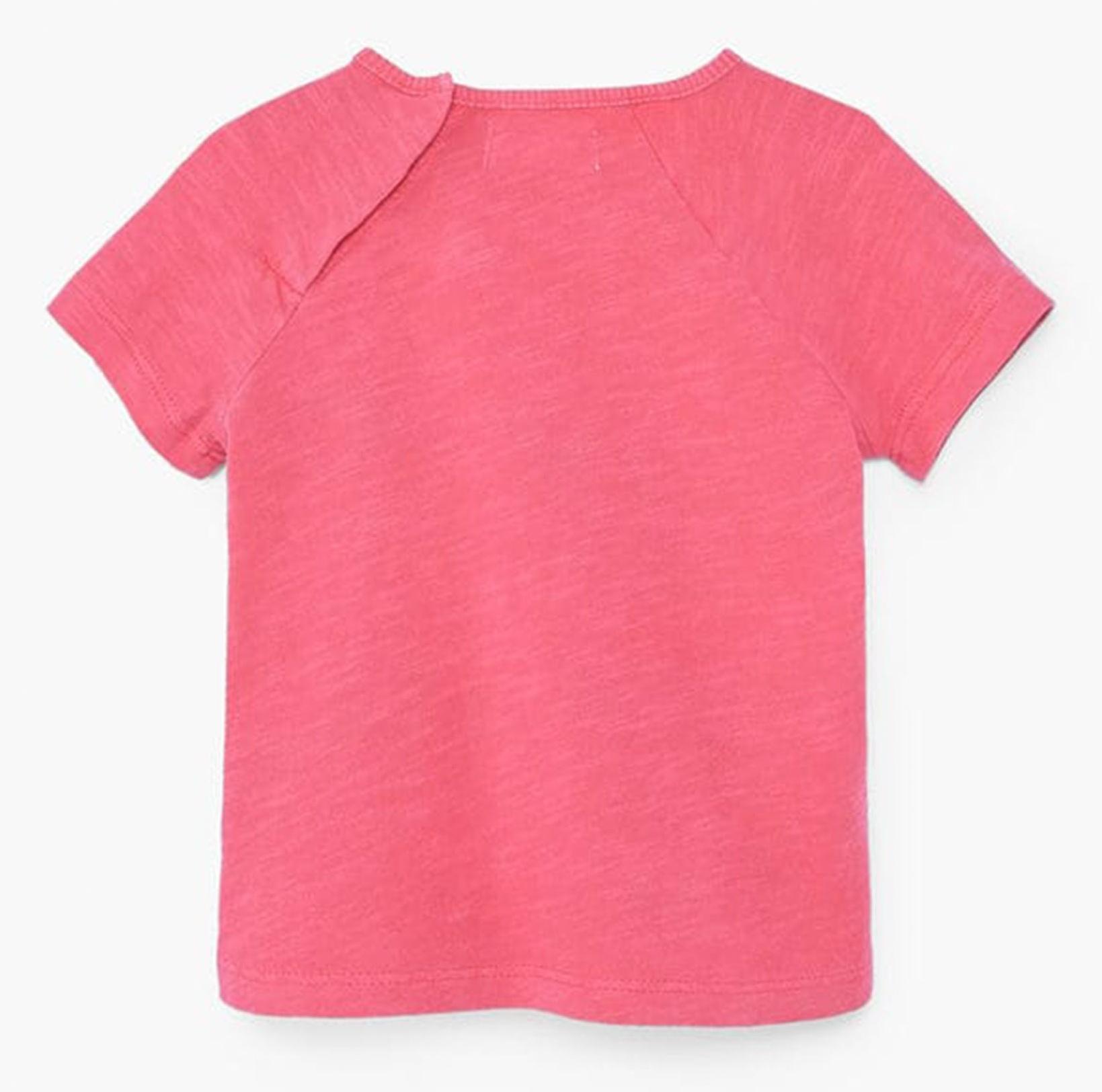 تی شرت نخی آستین کوتاه نوزادی دخترانه - مانگو - صورتي تيره - 2