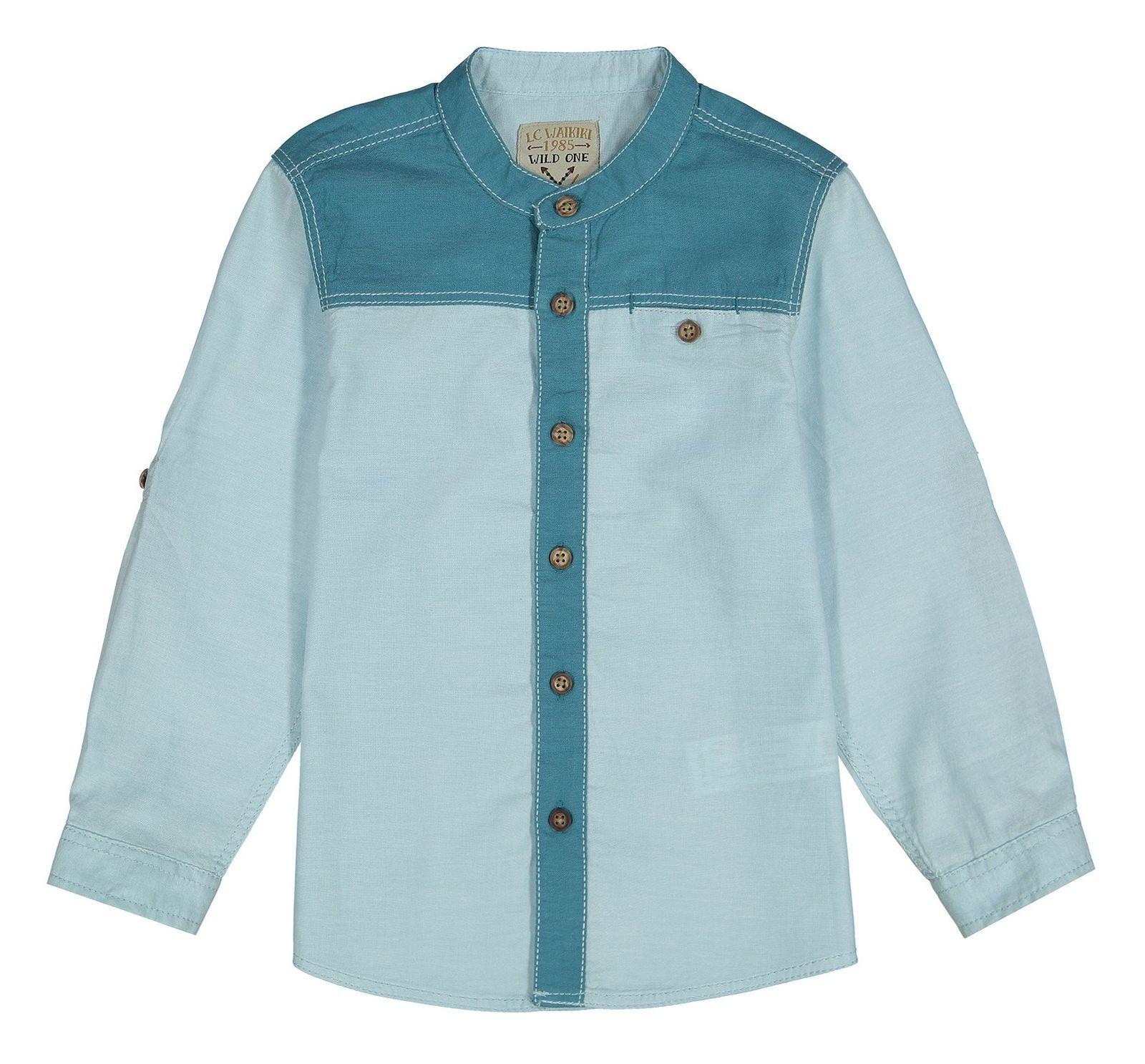 پیراهن نخی آستین بلند پسرانه - ال سی وایکیکی - سبز آبي روشن - 1