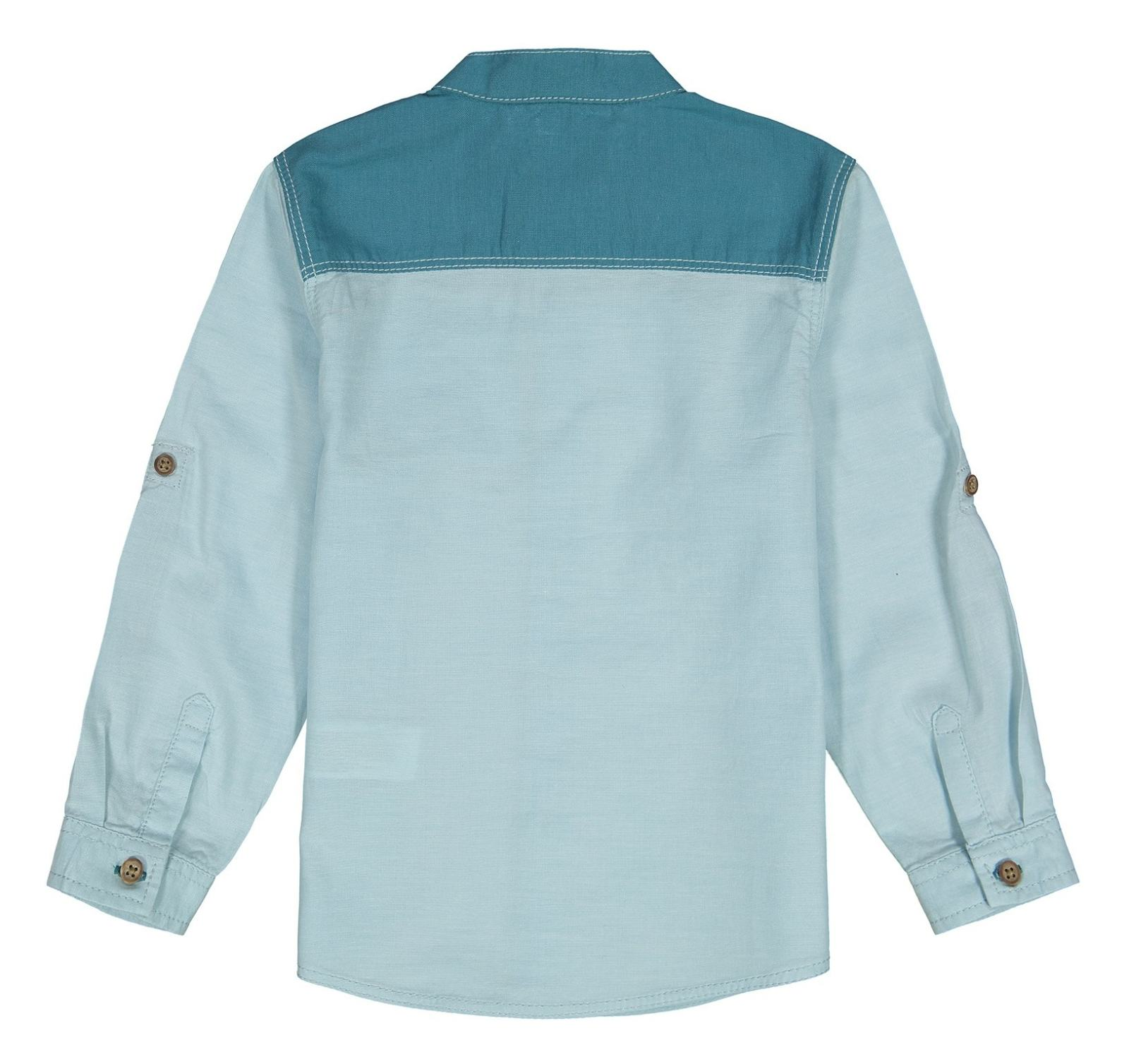 پیراهن نخی آستین بلند پسرانه - ال سی وایکیکی - سبز آبي روشن - 2