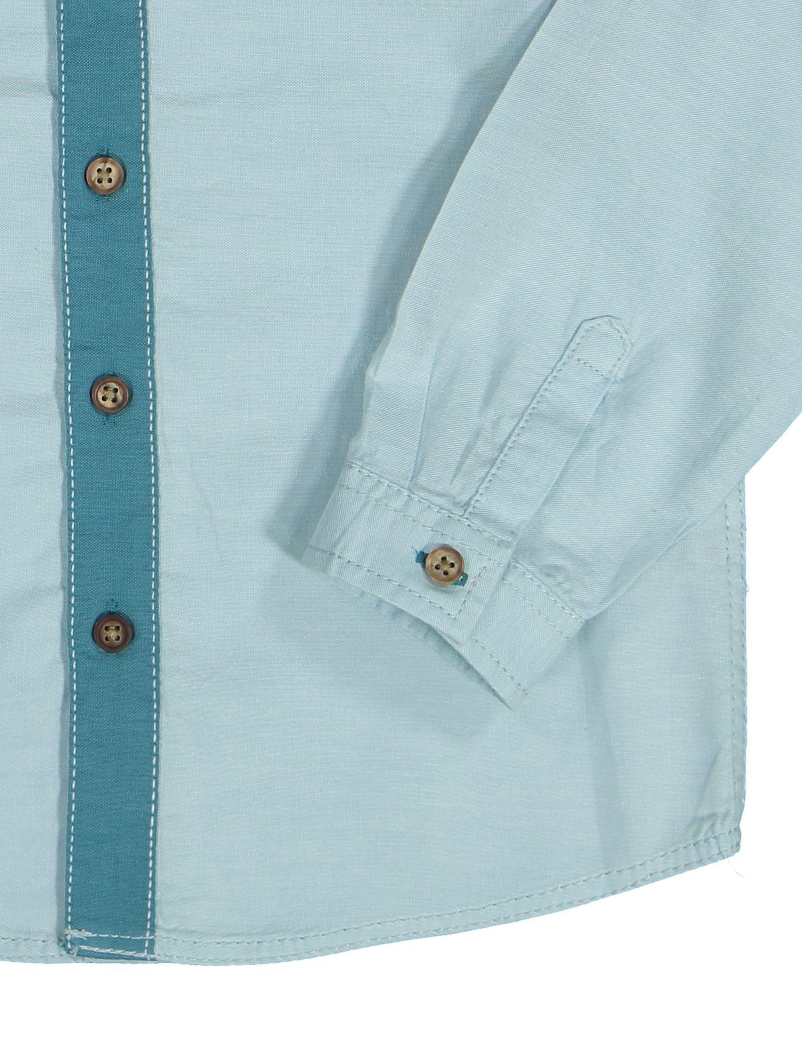 پیراهن نخی آستین بلند پسرانه - ال سی وایکیکی - سبز آبي روشن - 3