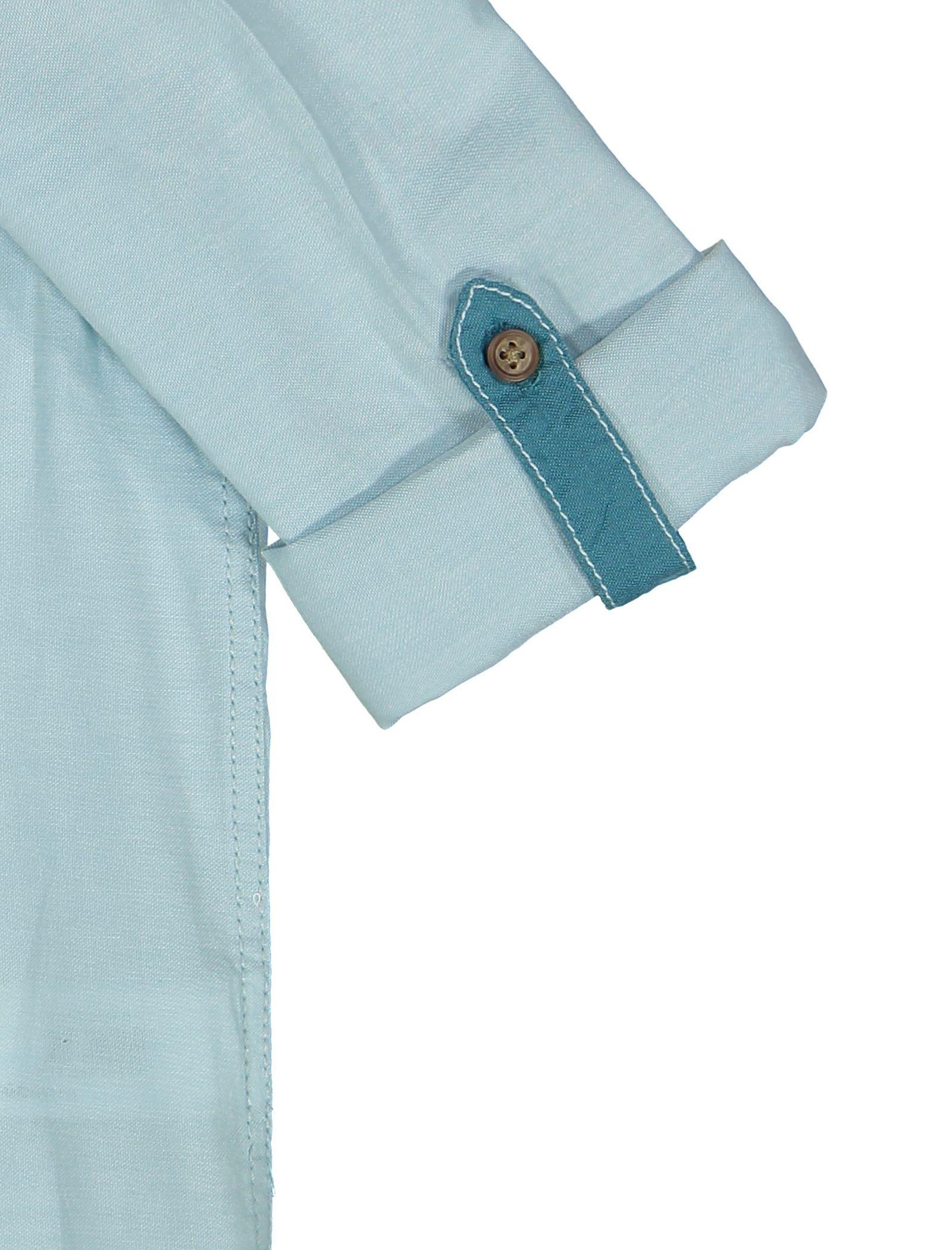 پیراهن نخی آستین بلند پسرانه - ال سی وایکیکی - سبز آبي روشن - 4