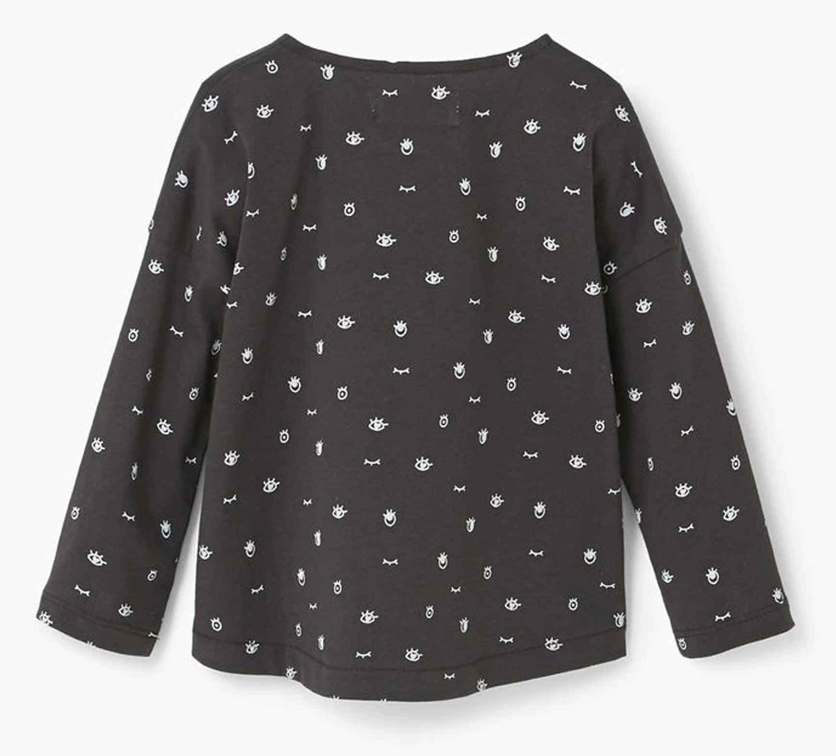 تی شرت نخی آستین بلند نوزادی دخترانه - مانگو - زغالي - 2