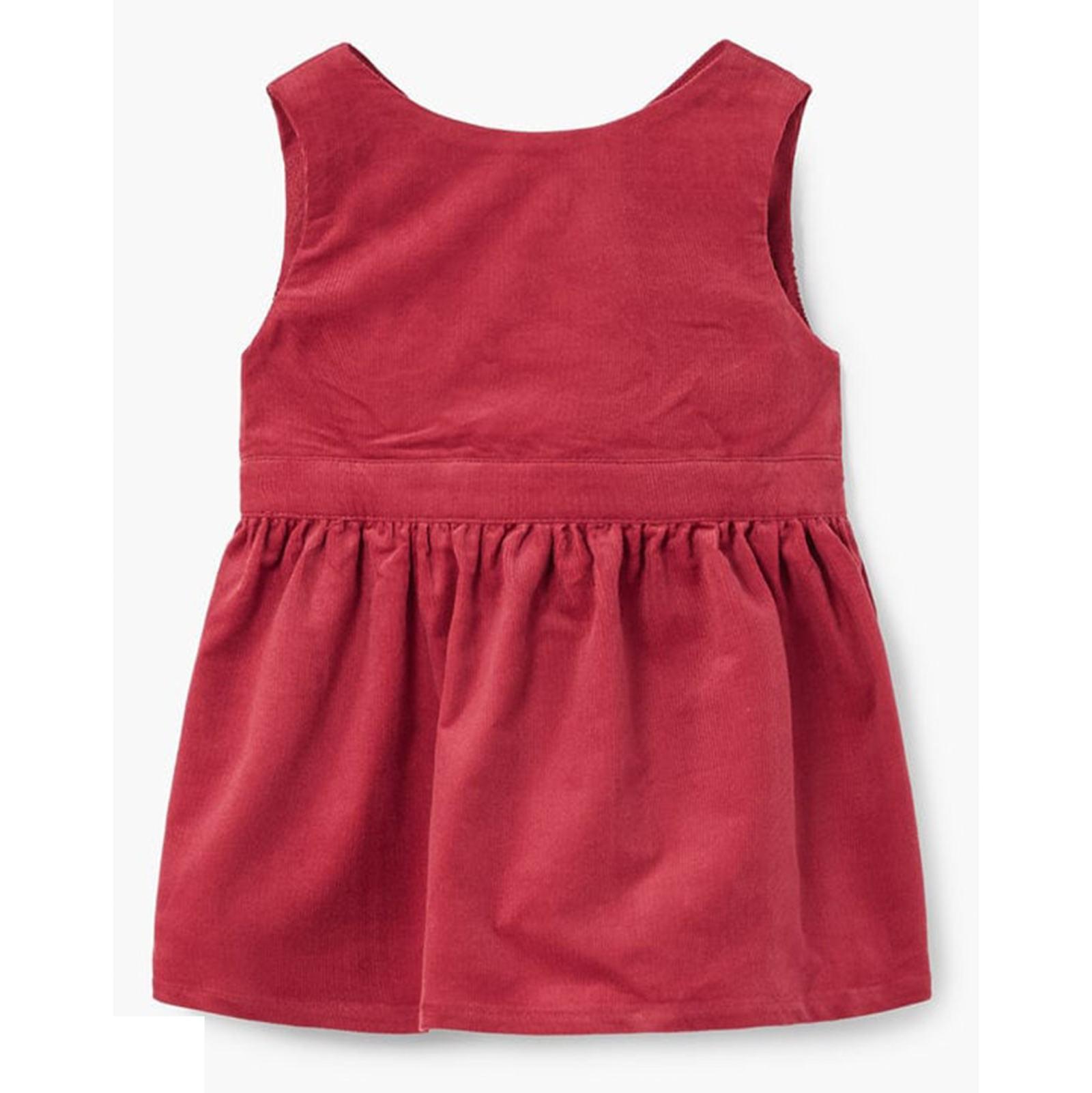پیراهن نخی بدون آستین نوزادی دخترانه - مانگو - قرمز - 2