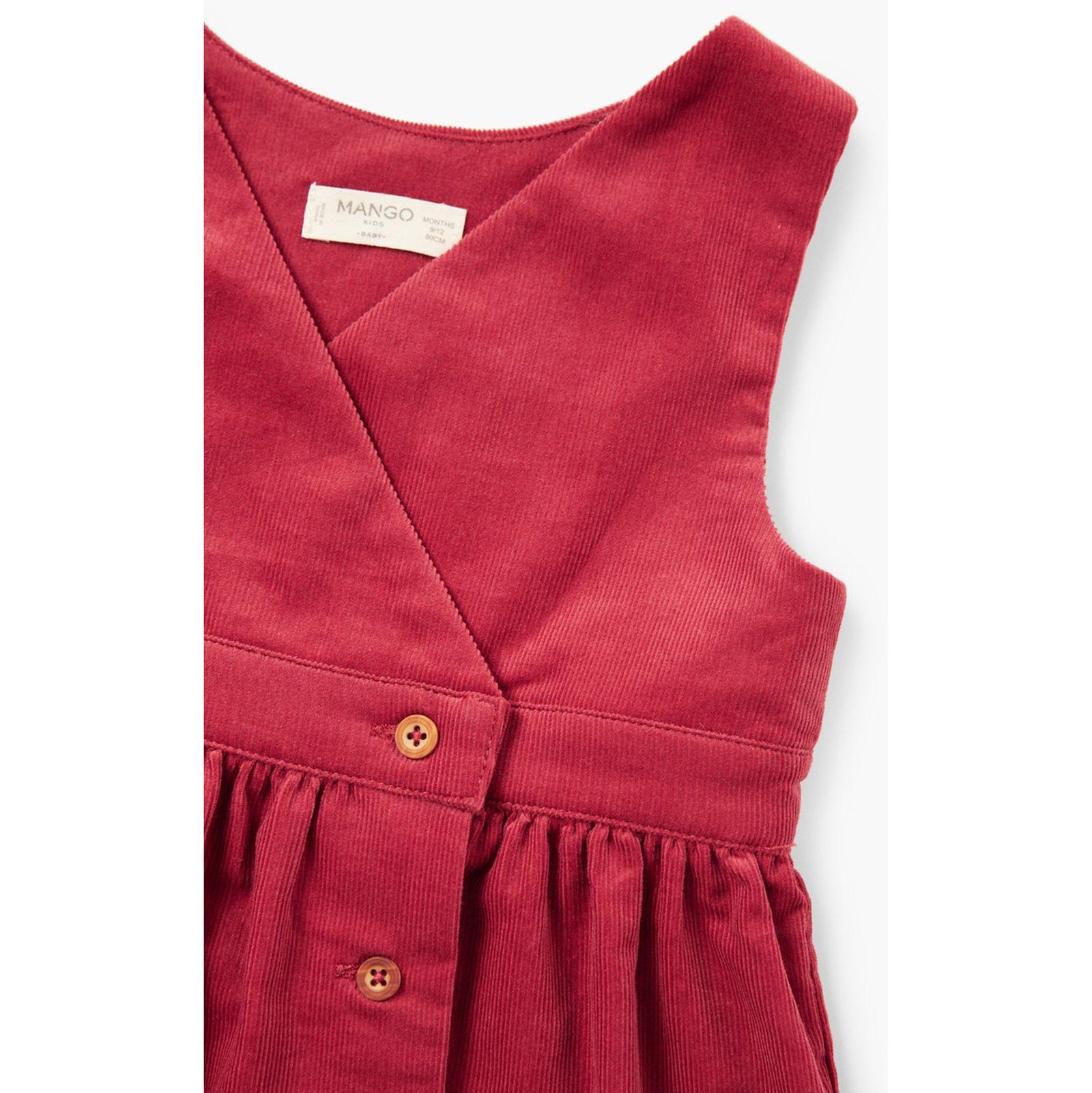 پیراهن نخی بدون آستین نوزادی دخترانه - مانگو - قرمز - 3