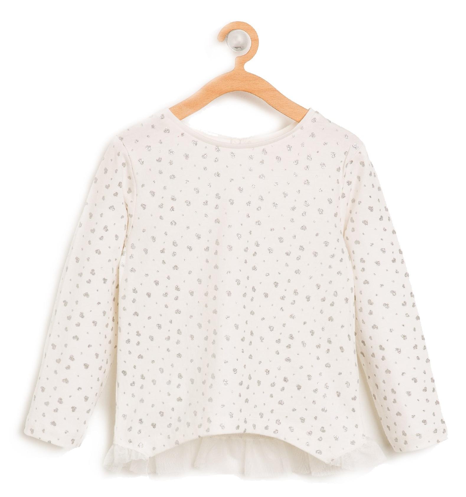 تی شرت نخی آستین بلند نوزادی دخترانه - کوتون - کرم  - 1