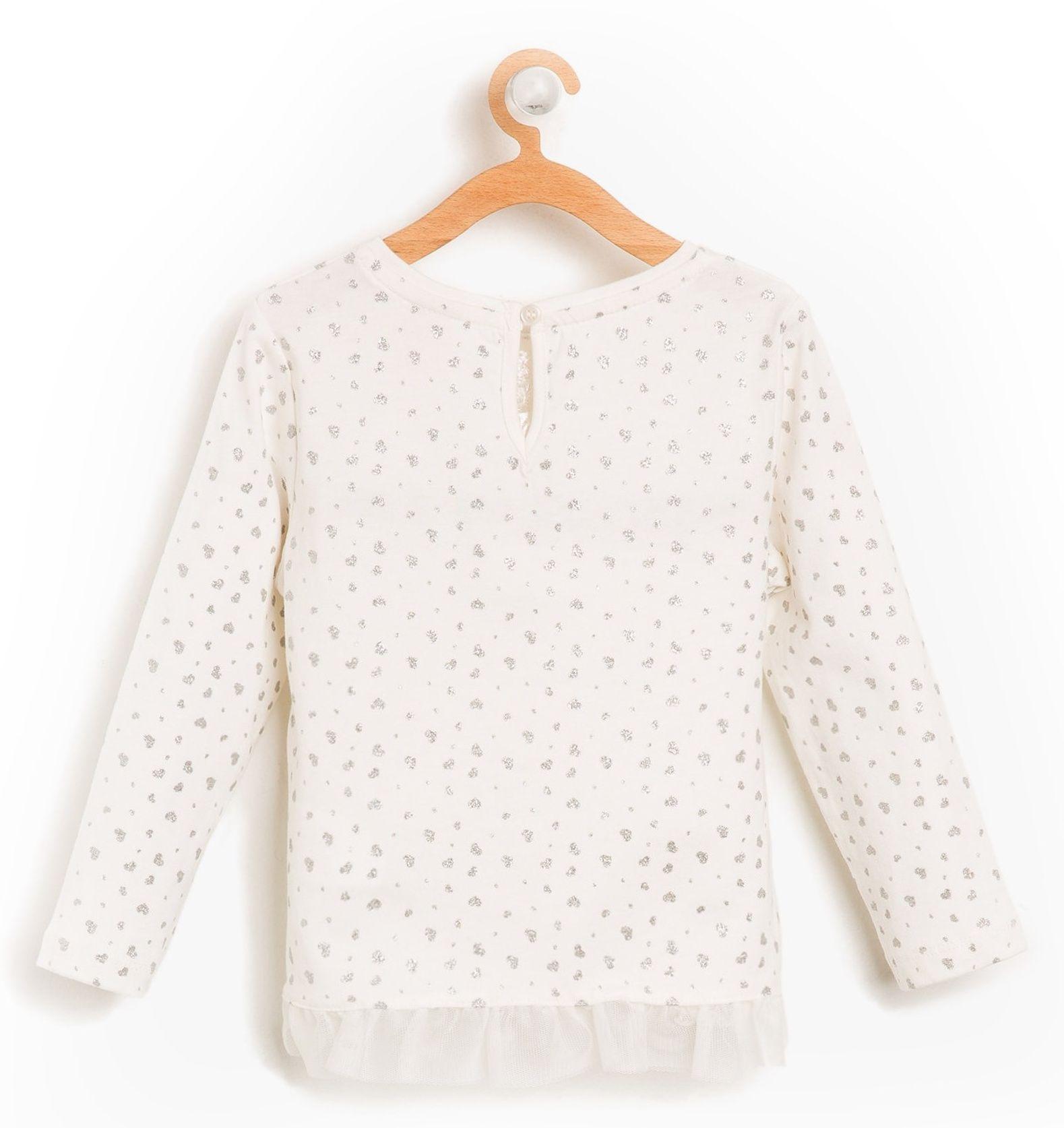 تی شرت نخی آستین بلند نوزادی دخترانه - کوتون - کرم  - 2