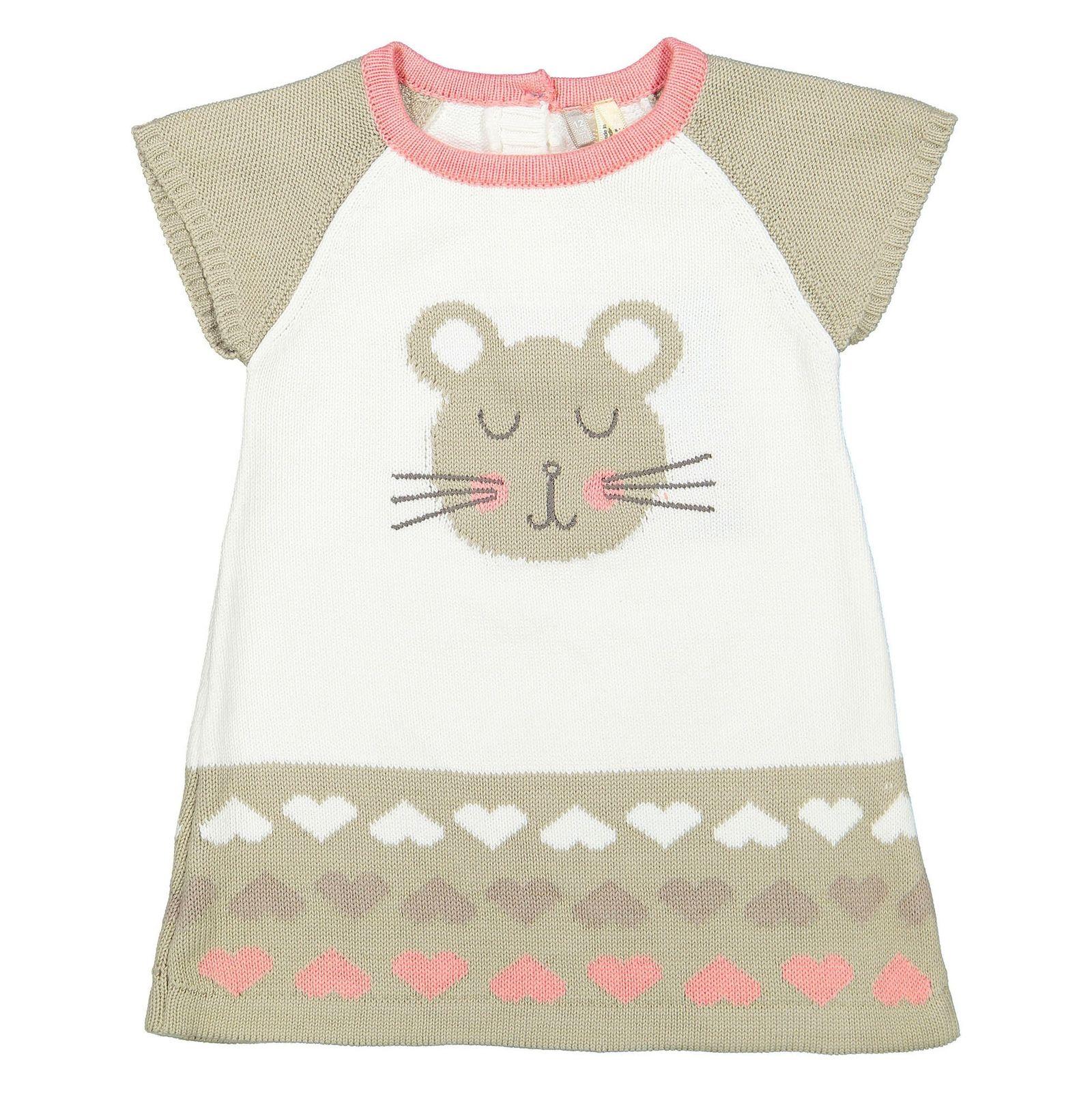 پیراهن بافت آستین کوتاه نوزادی دخترانه - ارکسترا - سفيد - 1