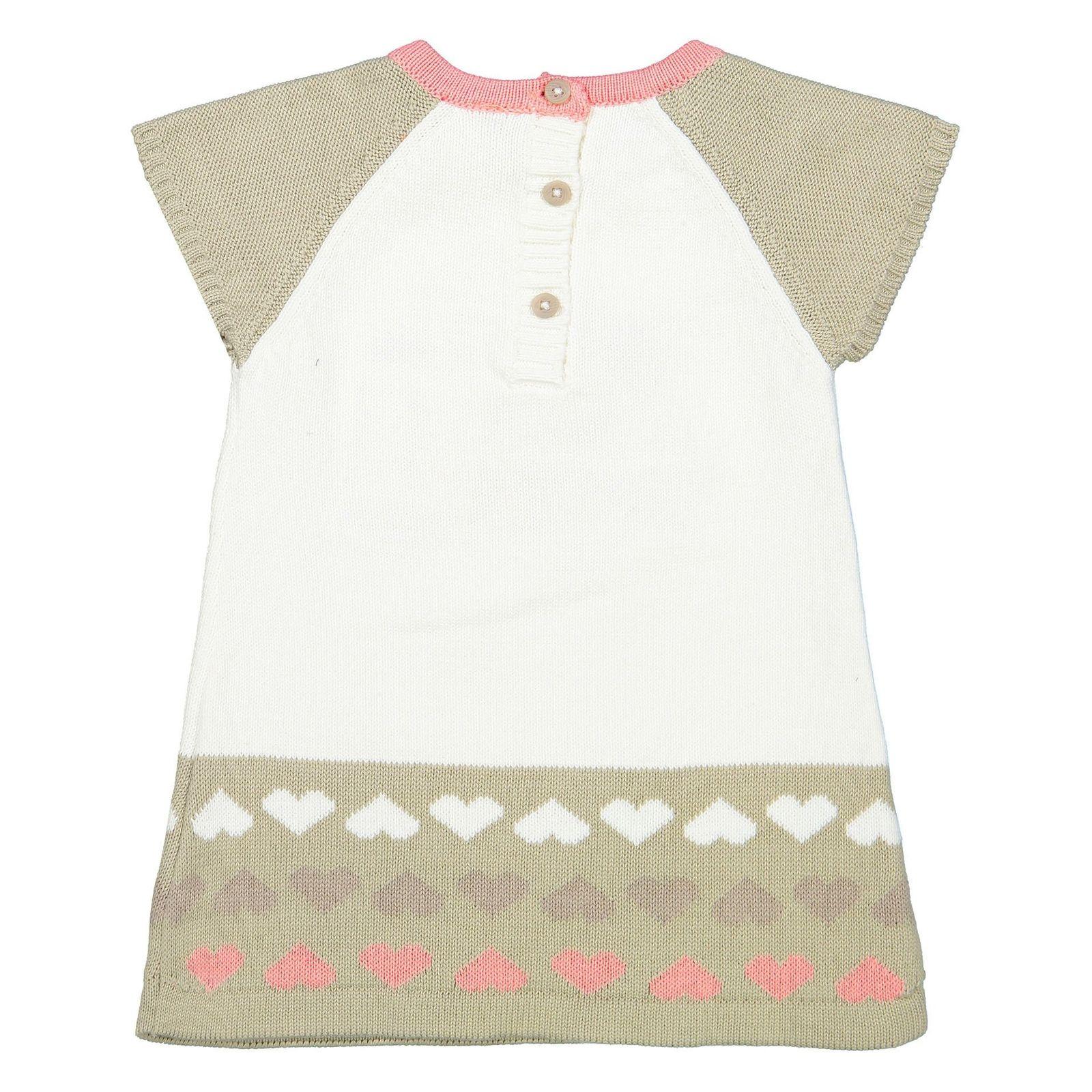 پیراهن بافت آستین کوتاه نوزادی دخترانه - ارکسترا - سفيد - 2