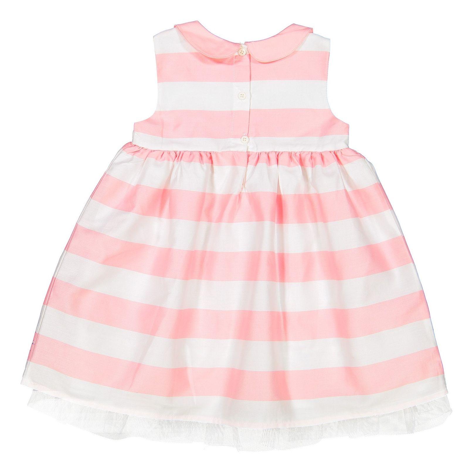 پیراهن نخی بدون آستین نوزادی دخترانه - ال سی وایکیکی - سفيد و صورتي - 2