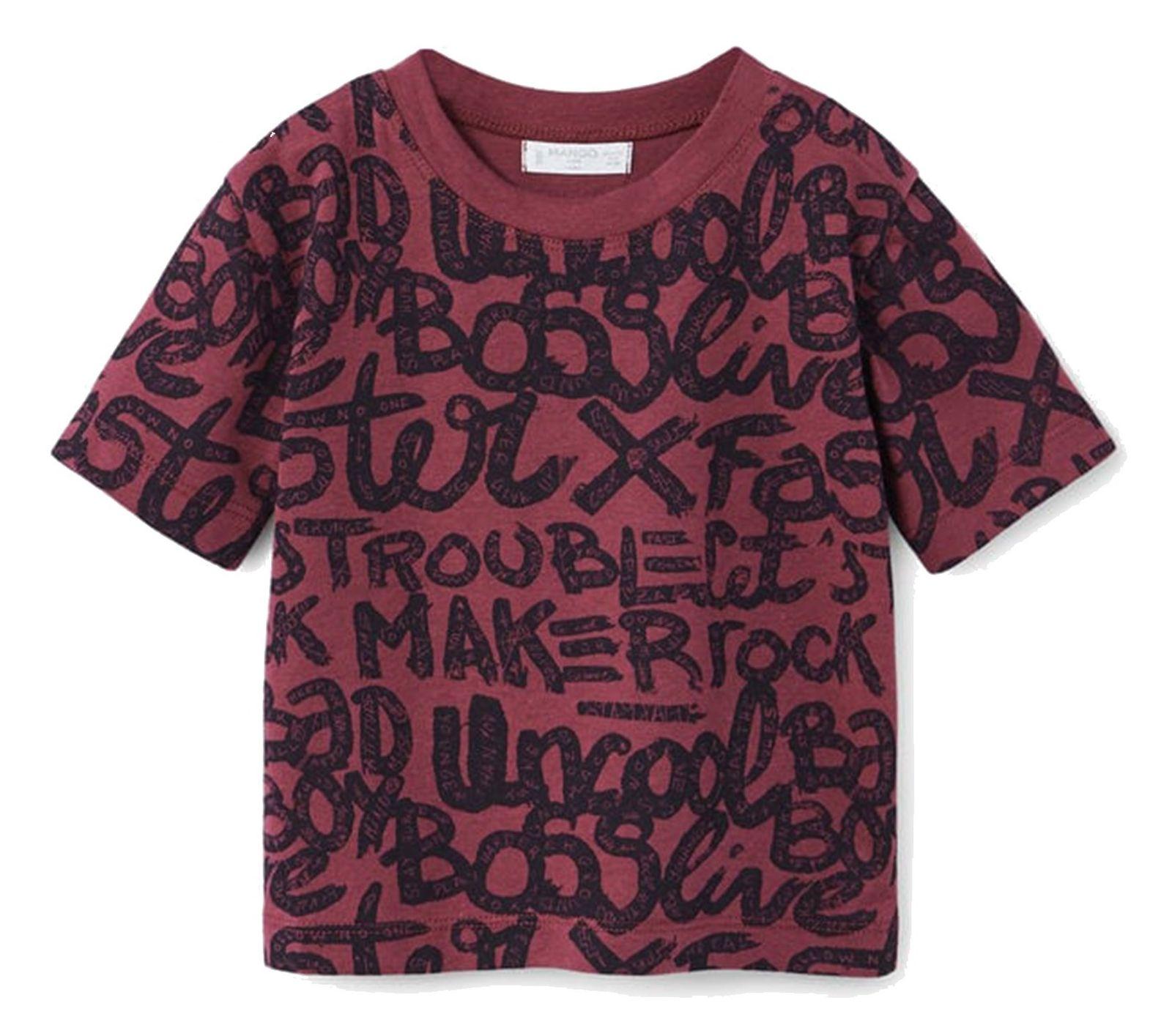 تی شرت نخی یقه گرد نوزادی پسرانه - مانگو - زرشکي - 1