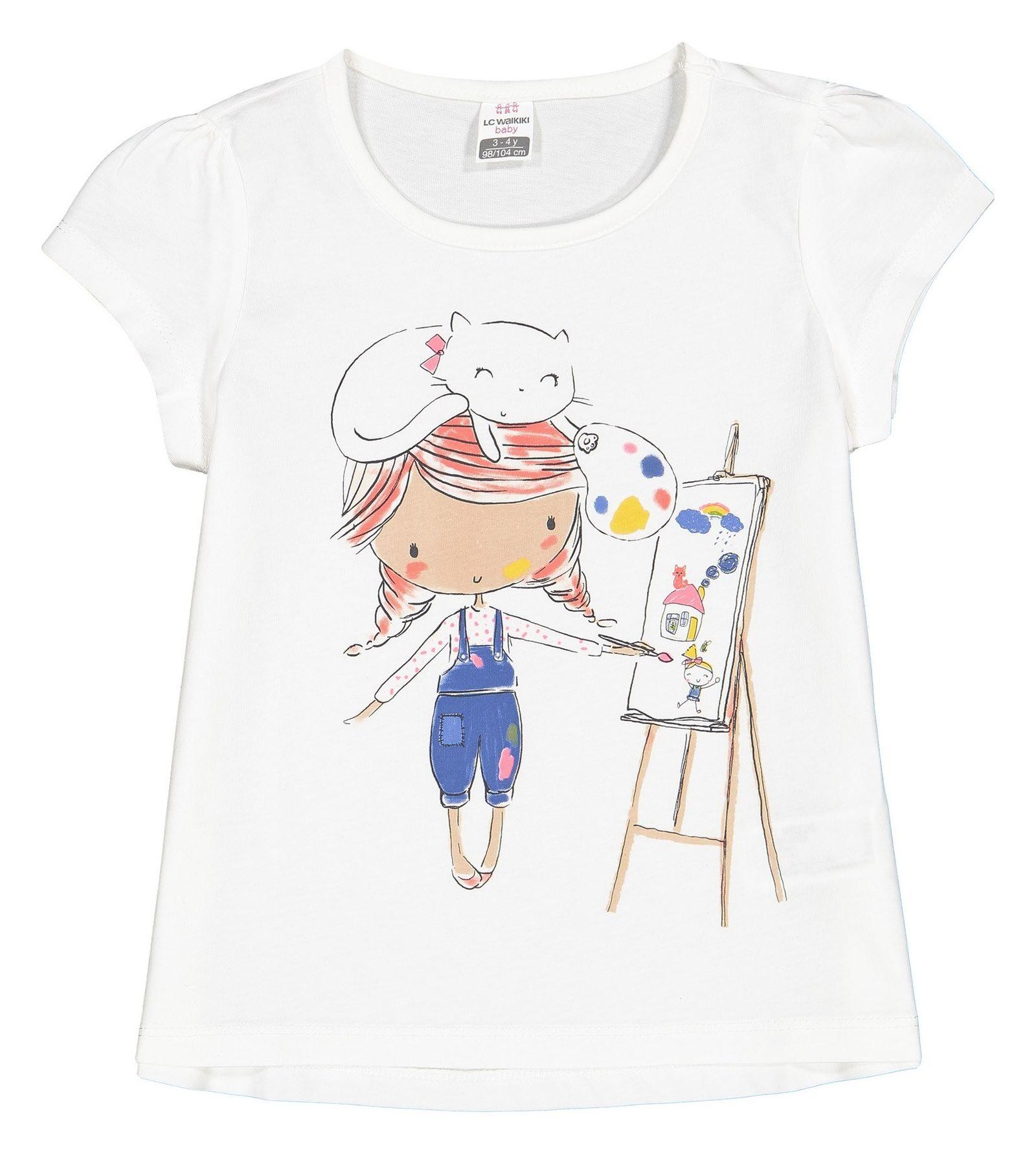 تی شرت نخی طرح دار نوزادی دخترانه - ال سی وایکیکی - سفيد - 1