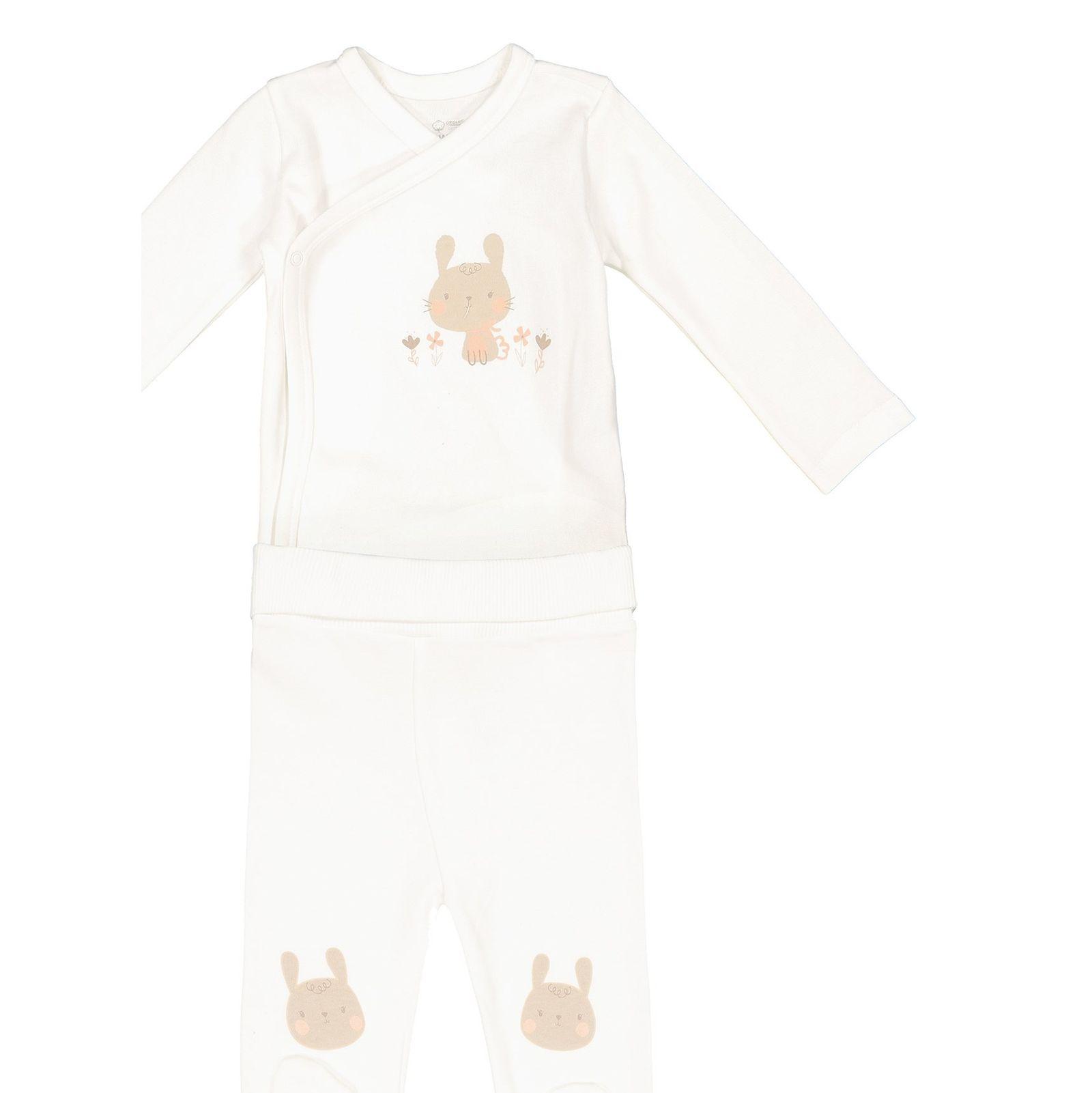 تی شرت و شلوار نخی نوزادی دخترانه - ال سی وایکیکی - کرم    - 1