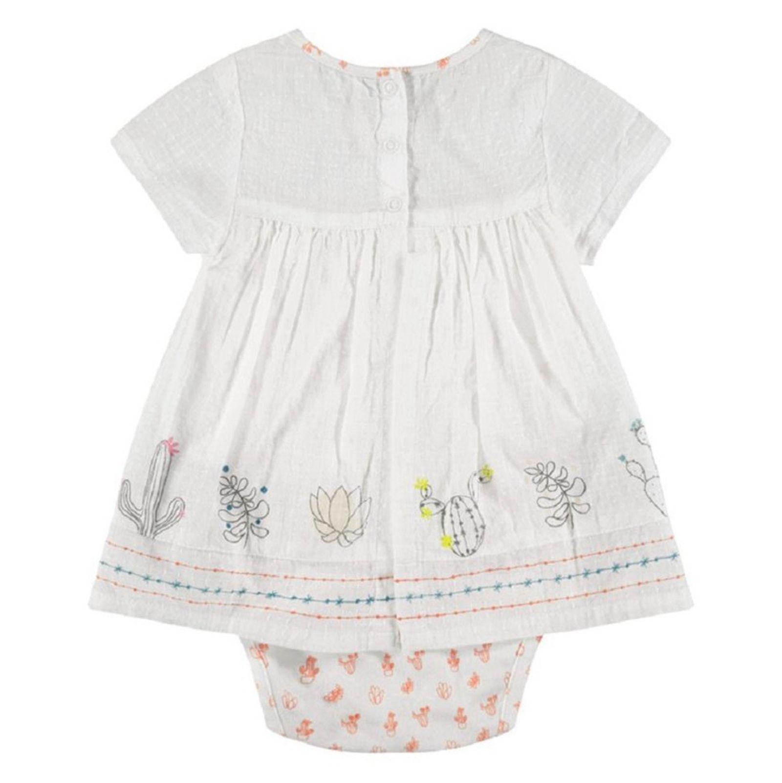 پیراهن و شورت نوزادی دخترانه - ارکسترا - سفید - 2