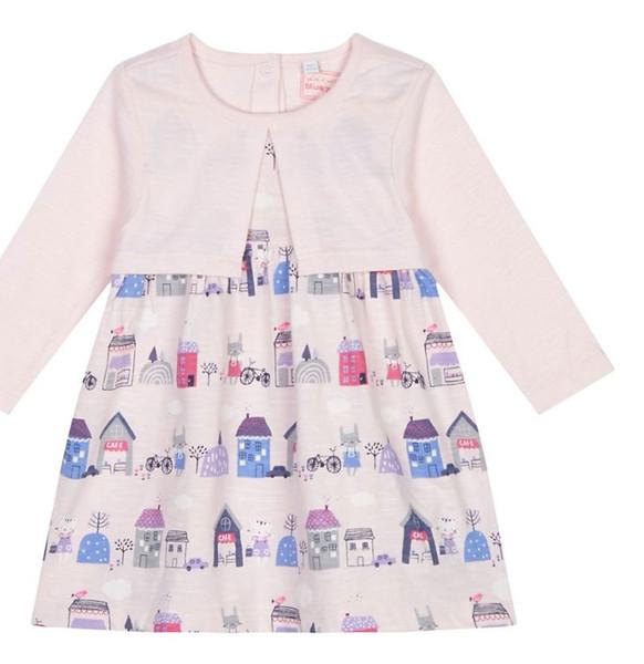 پیراهن نخی آستین بلند نوزادی دخترانه - بلوزو