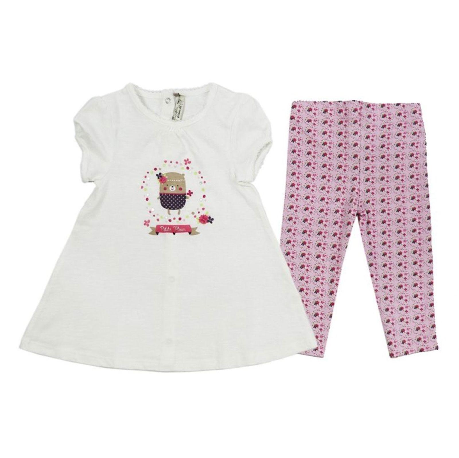پیراهن و لگینگ نخی نوزادی دخترانه - ارکسترا - سفيد و صورتي - 1