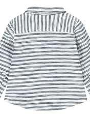 پیراهن نخی آستین کوتاه بلند پسرانه - ارکسترا - سفيد راه راه - 2