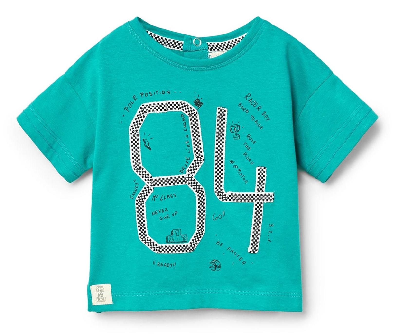 تی شرت نخی ساده نوزادی پسرانه - مانگو - سبز آبي - 1