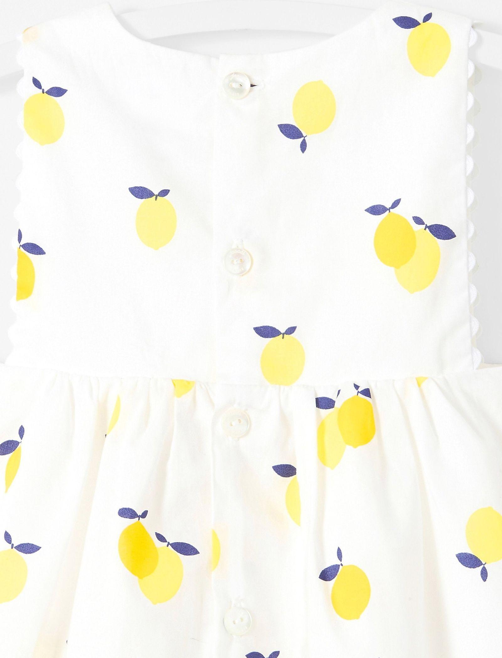 پیراهن نخی آستین حلقه ای نوزادی دخترانه Lizetta - جاکادی - سفيد و زرد - 3