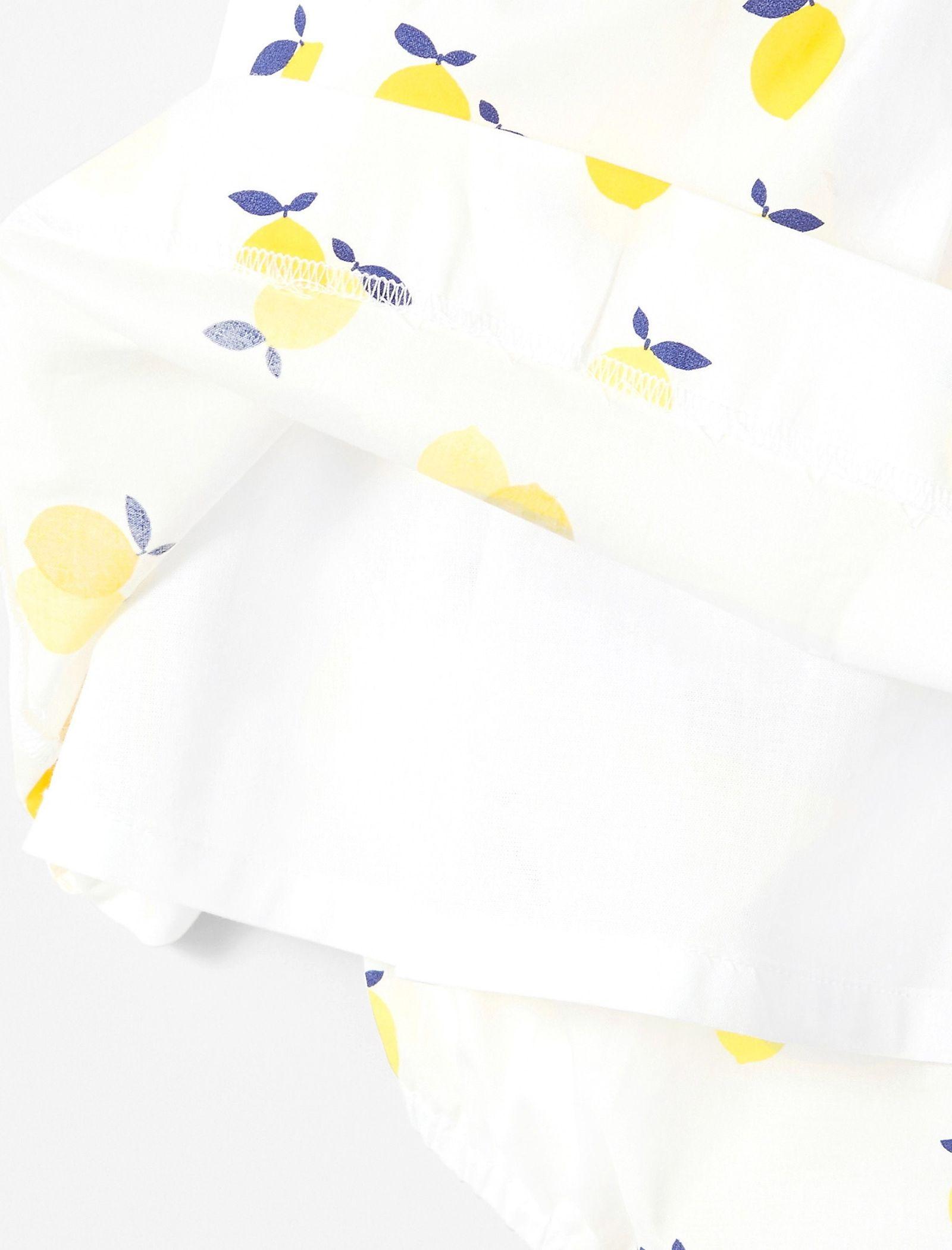 پیراهن نخی آستین حلقه ای نوزادی دخترانه Lizetta - جاکادی - سفيد و زرد - 4