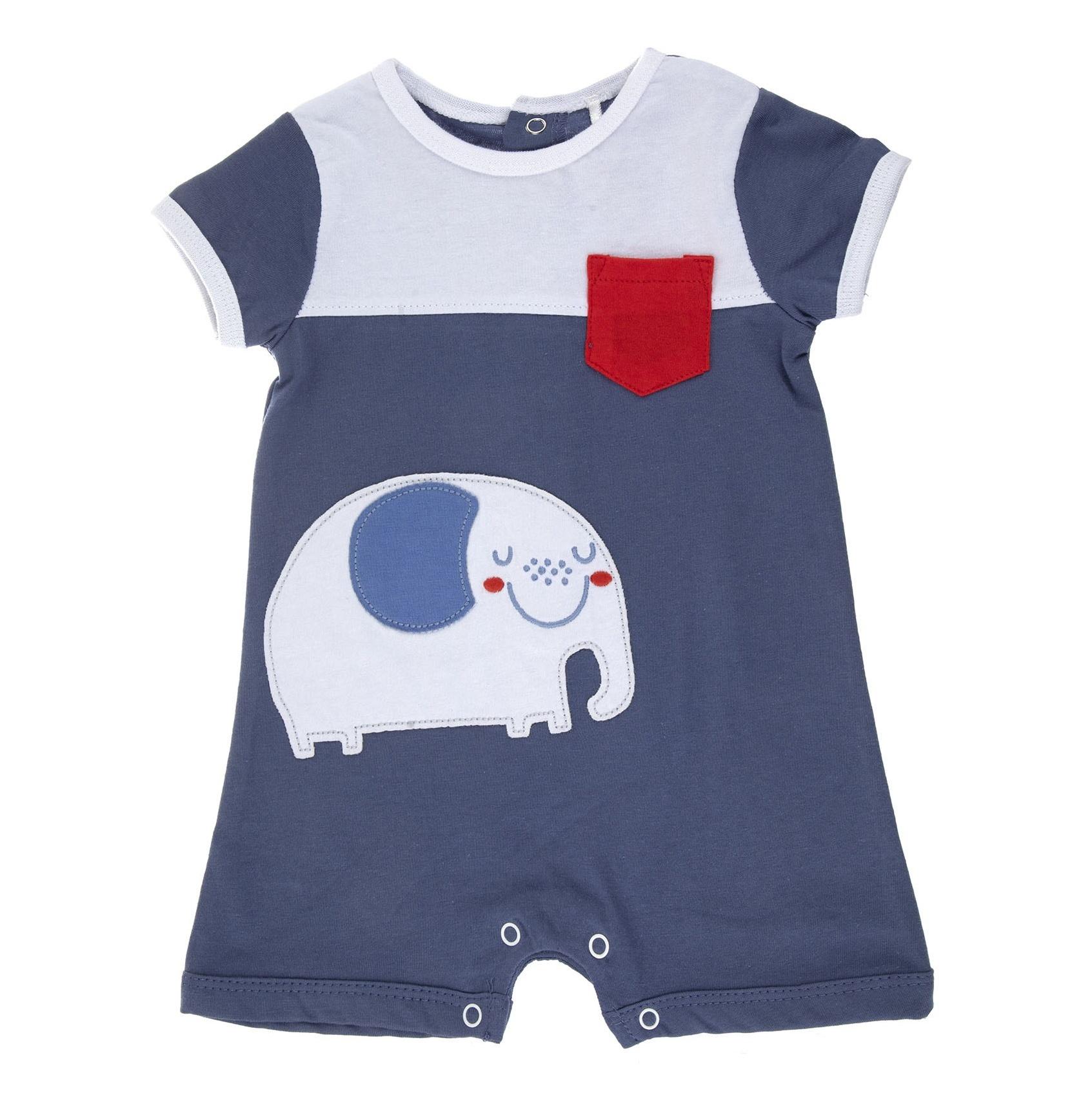 سرهمی نخی ساده نوزادی پسرانه - بلوکیدز - آبي و سفيد - 1