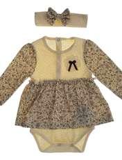 پیراهن نخی آستین بلند نوزادی دخترانه - بی بی ناز - کرم و قهوه اي - 1