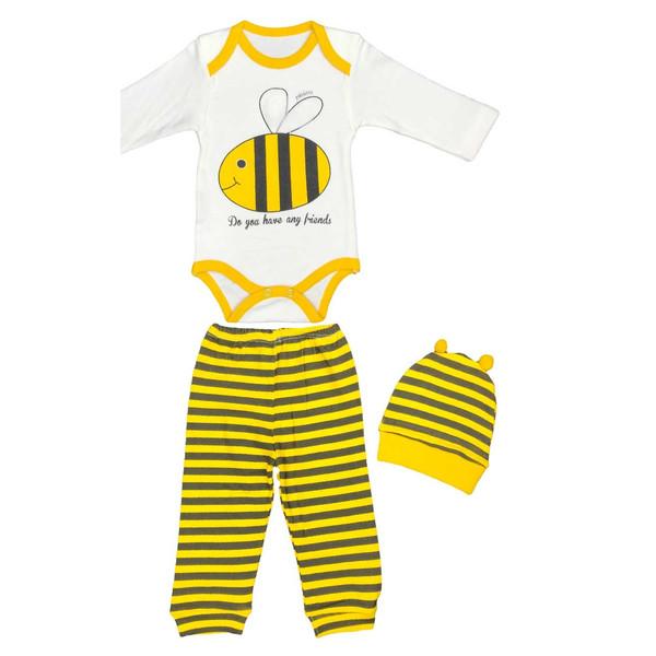 ست 3 تکه لباس نوزادی طرح زنبور کد 1511