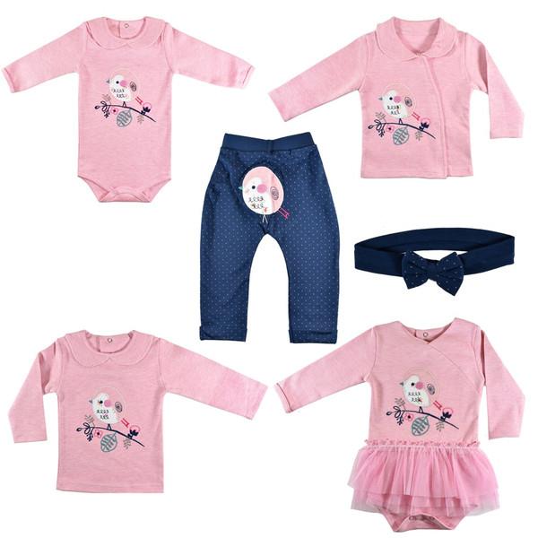ست 6 تکه لباس نوزادی نیروان طرح جوجه رنگی کد 6