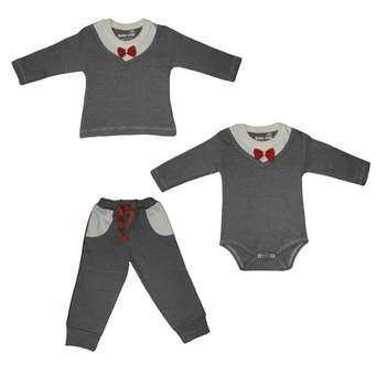 ست 3 تکه لباس نوزادی بیبی وان طرح پاپیون کد 7442