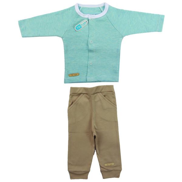 ست دو تکه لباس نوزادی تیک تاک مدل 001 رنگ آبی