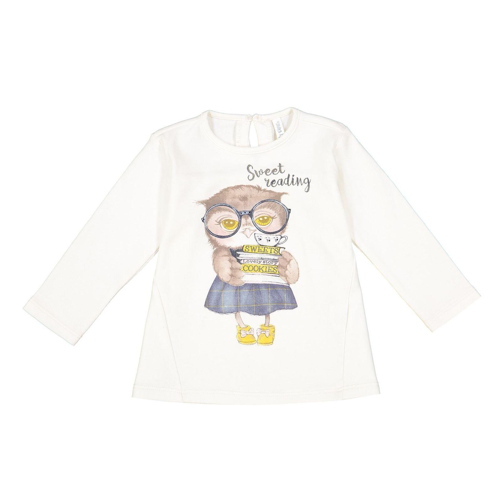 تی شرت نخی یقه گرد نوزادی دخترانه - ایدکس - سفید وانیلی - 1