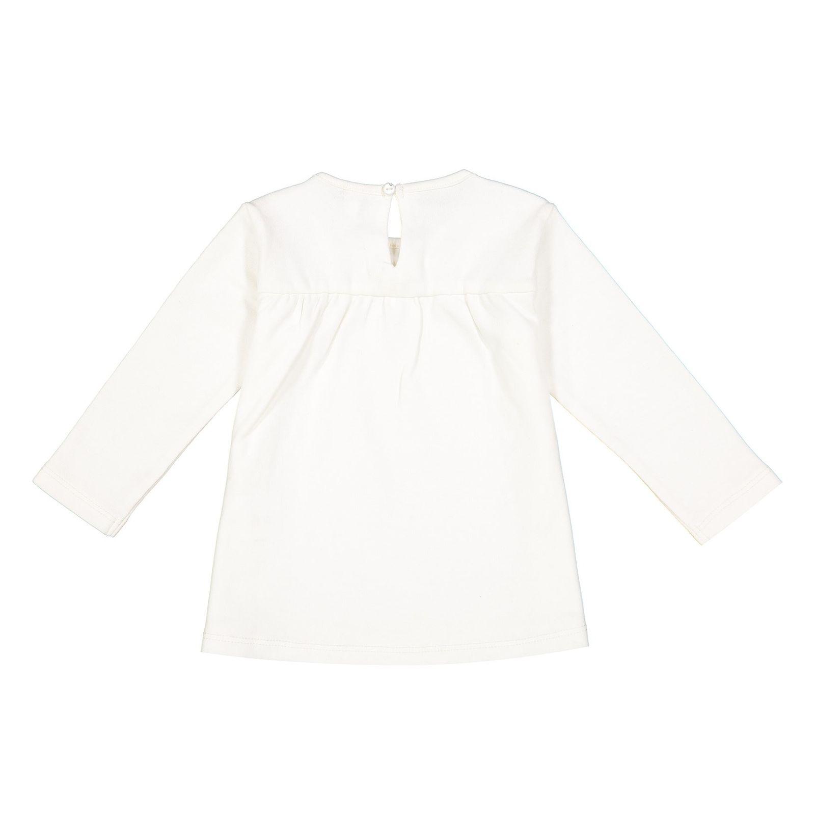 تی شرت نخی یقه گرد نوزادی دخترانه - ایدکس - سفید وانیلی - 2