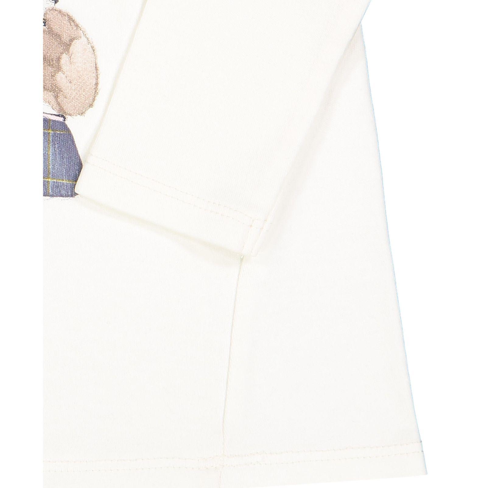 تی شرت نخی یقه گرد نوزادی دخترانه - ایدکس - سفید وانیلی - 3