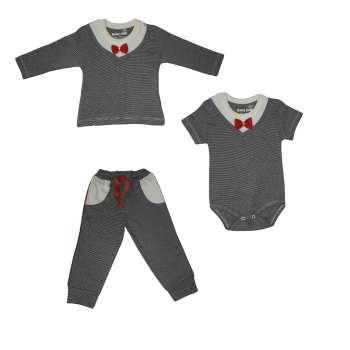 ست 3 تکه لباس نوزادی بیبی وان طرح پاپیون کد 7443
