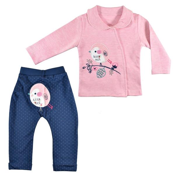 ست 2 تکه لباس نوزادی نیروان طرح جوجه رنگی کد 4
