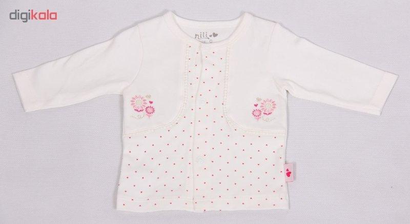 شومیز نوزادی نیلی طرح  قلب کد 0015