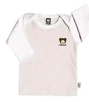 تیشرت آستین بلند نوزادی آدمک طرح راه راه کد 03 رنگ طوسی