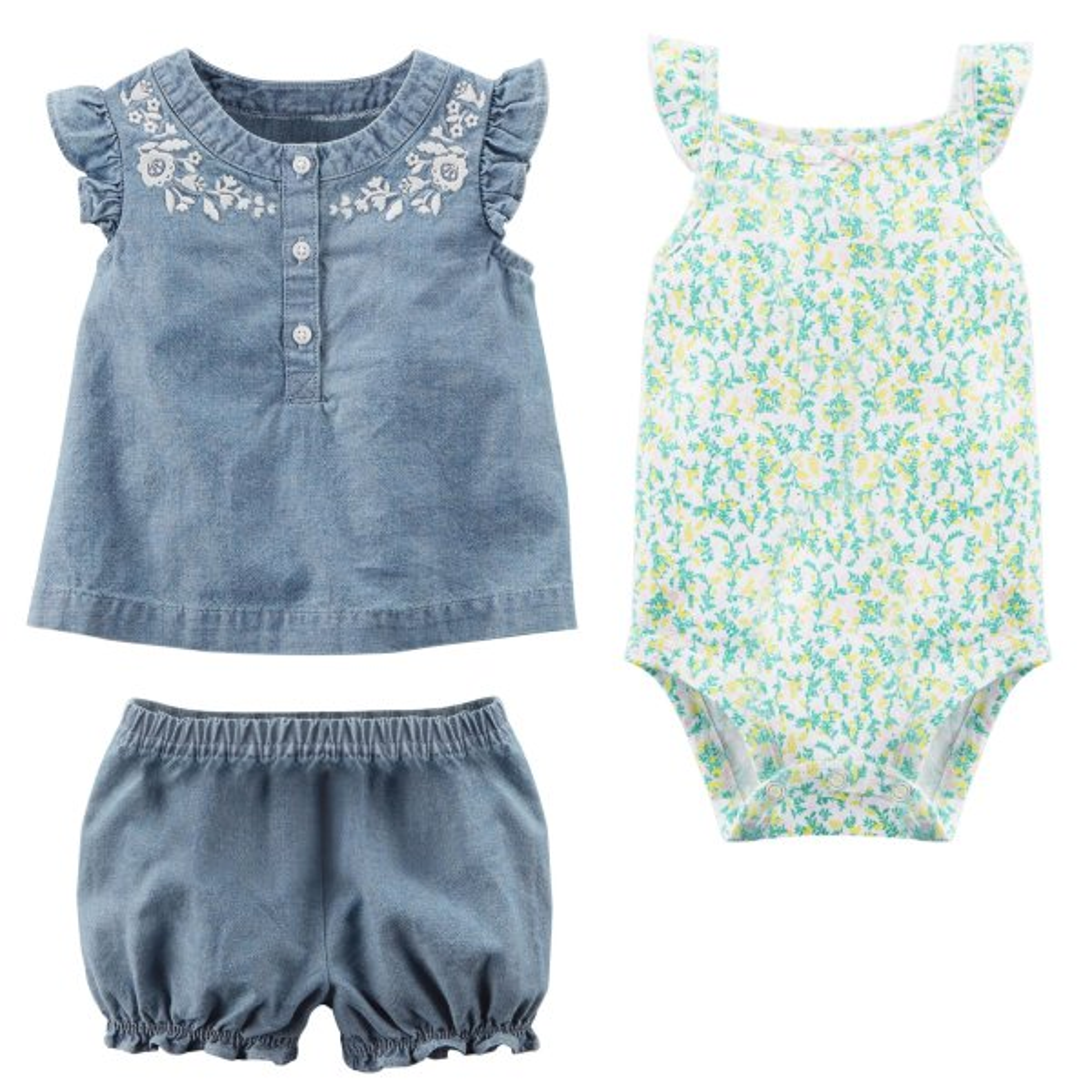 ست 3 تکه لباس نوزادی دخترانه کارترز مدل 913