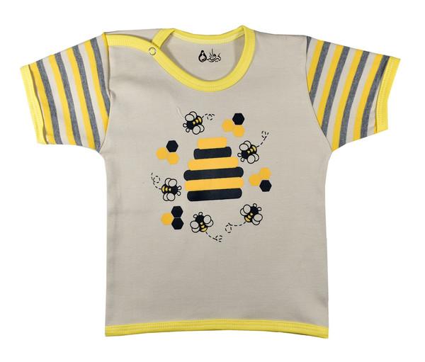تیشرت آستین کوتاه نوزادی پسرانه نیروان طرح زنبور عسل