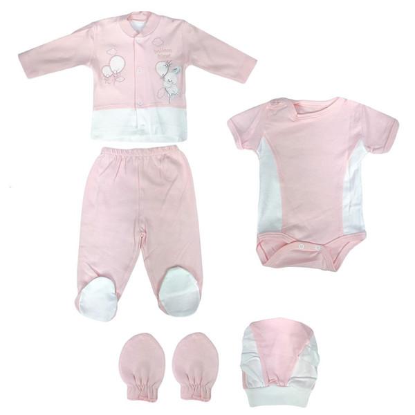 ست 5 تکه لباس نوزادی دخترانه کد 2744 C