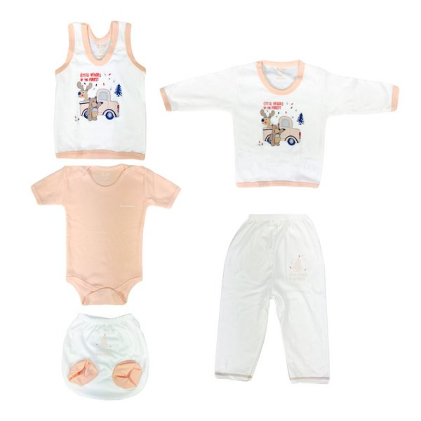 ست 5 تکه لباس نوزادی بی.آی.ام طرح خرس و ماشین