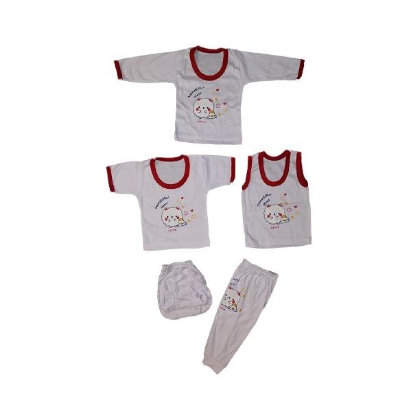 ست پنج تکه لباس نوزادی کد 522323RED
