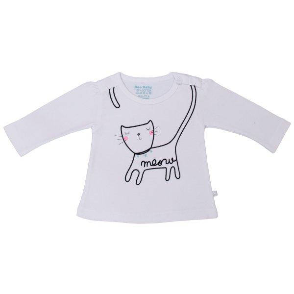 تی شرت آستین بلند نوزادی دخترانه بیبی بو مدل Wmeow