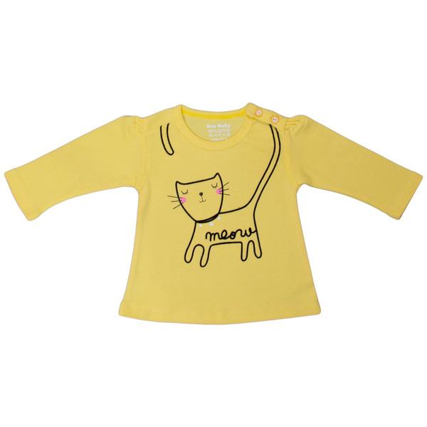 تی شرت آستین بلند نوزادی دخترانه بیبی بو مدل Ymeow