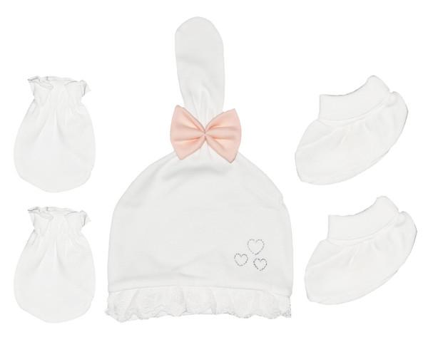 ست کلاه و دستکش و پاپوش نوزادی پاپو کد 22 رنگ گلبهی