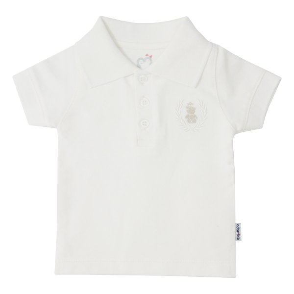 پولوشرت نوزادی پسرانه آدمک مدل 148701 رنگ سفید